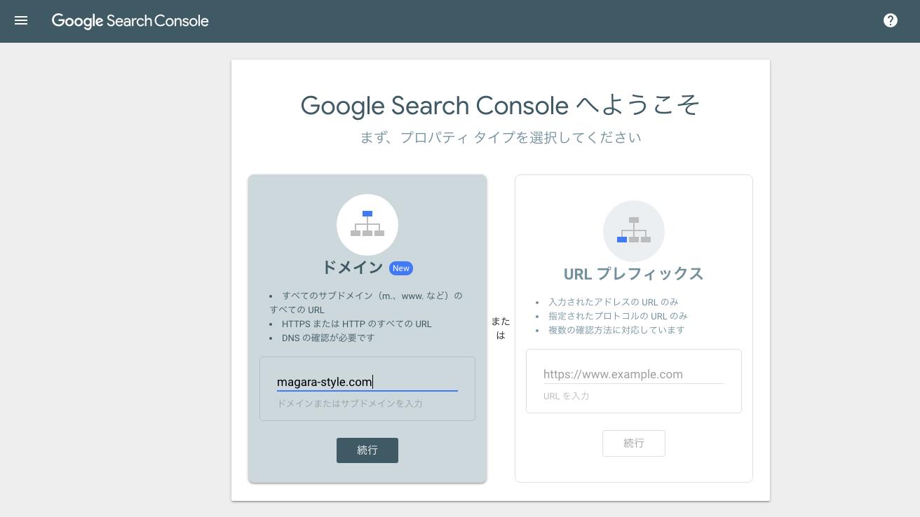 Search Console プロパティタイプ ドメイン