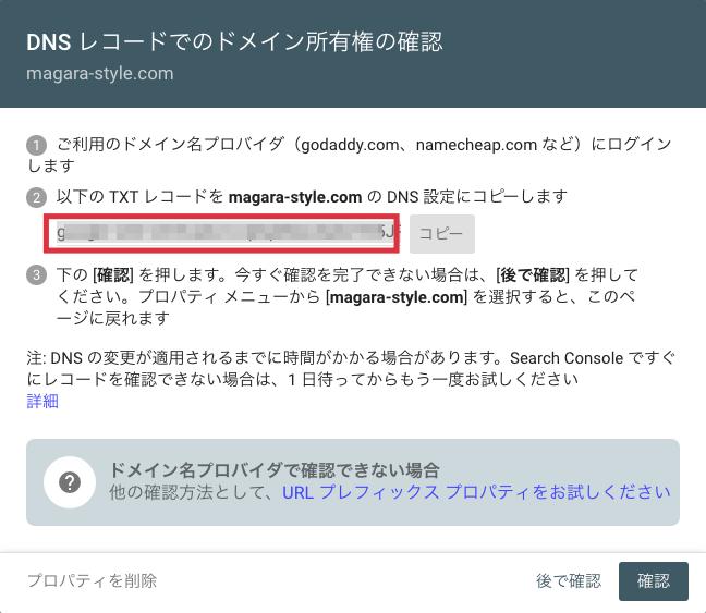 DNSレコード ドメイン所有権の確認